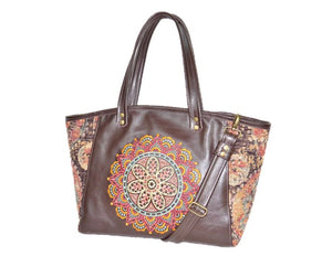 Brown Leather and Tapestry Mandala Zipper Tote