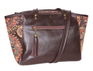 Brown Leather and Tapestry Mandala Zipper Tote exterior zipper pocket