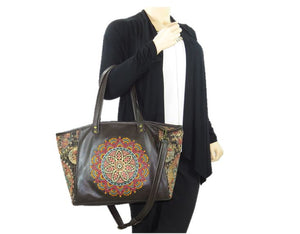 Brown Leather and Tapestry Mandala Zipper Tote model