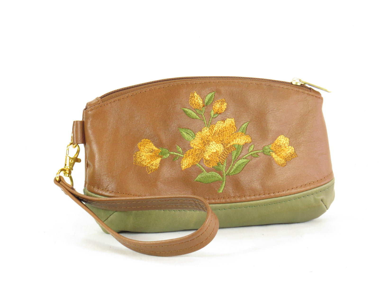 Brown and Green Leather Wristlet