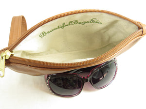 Brown and Green Leather Wristlet interior