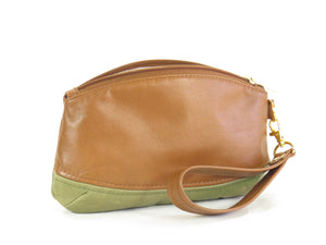 Brown and Green Leather Wristlet reverse side