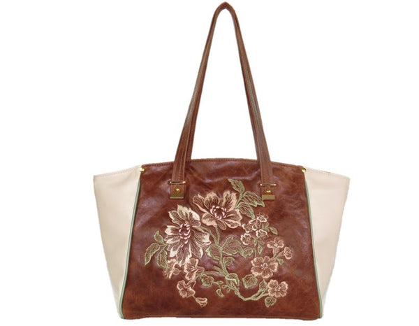Brown and Ivory Leather Tote