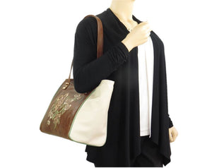 Brown and Ivory Leather Tote model view
