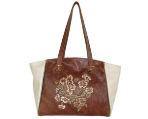 Brown and Ivory Leather Tote opposite side