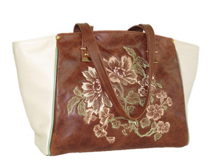 Brown and Ivory Leather Tote relaxed handles