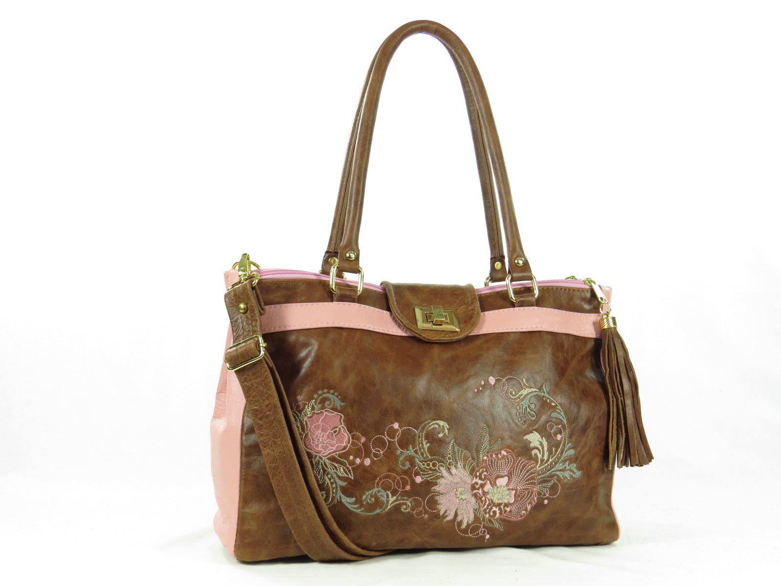 Brown and Pink Leather Sectional Satchel
