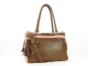 Brown and Pink Leather Sectional Satchel back view