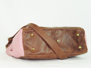 Brown and Pink Leather Sectional Satchel base view
