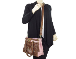 Brown and Pink Leather Sectional Satchel cross body carry