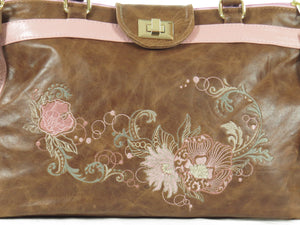 Brown and Pink Leather Sectional Satchel embroidery on leather