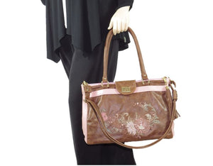 Brown and Pink Leather Sectional Satchel hand carry