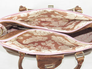 Brown and Pink Leather Sectional Satchel interior sections