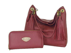 Burgundy Leather Wallet with matching slouchy hobo bag