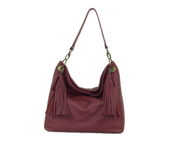 Burgundy Slouchy Hobo Leather Bag