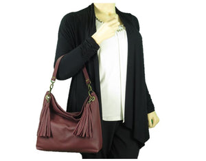 Burgundy Slouchy Hobo Leather Bag model view