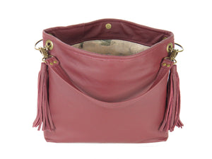 Burgundy Slouchy Hobo Leather Bag open view