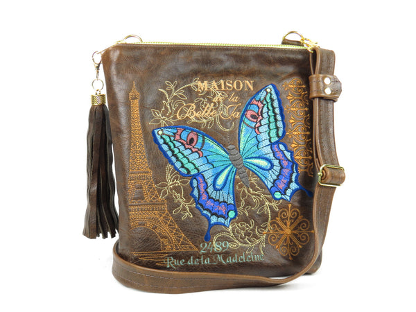 Butterfly Embroidered Chocolate Brown Leather Cross Body Handbag