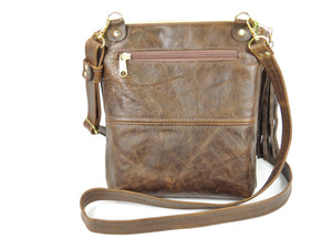 Butterfly Embroidered Chocolate Brown Leather Cross Body Handbag backside zipper pocket