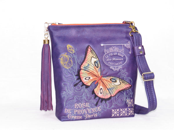 Butterfly Embroidered Royal Purple Leather Cross Body Handbag