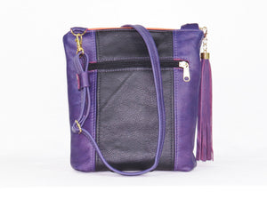 Butterfly Embroidered Royal Purple Leather Cross Body Handbag exterior zipper pocket