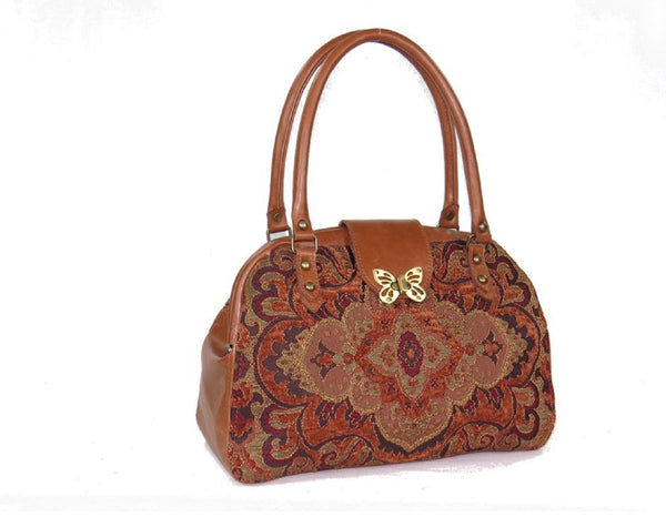Caramel Brown Leather and Tapestry Mary Poppins Carpet Bag 1