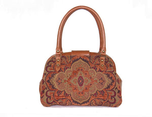 Caramel Brown Leather and Tapestry Mary Poppins Carpet Bag back view