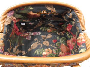 Caramel Brown Leather and Tapestry Mary Poppins Carpet Bag interior