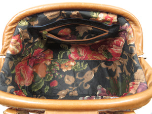 Caramel Brown Leather and Tapestry Mary Poppins Carpet Bag interior zipper pocket
