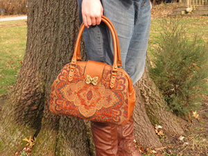 Caramel Brown Leather and Tapestry Mary Poppins Carpet Bag model