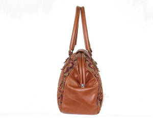 Caramel Brown Leather and Tapestry Mary Poppins Carpet Bag side view