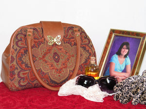 Caramel Brown Leather and Tapestry Mary Poppins Carpet Bag vignette