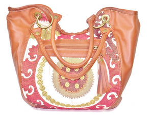 Caramel Leather and Mandala Tapestry Bucket Bag back view