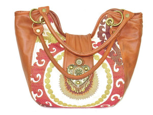 Caramel Leather and Mandala Tapestry Bucket Bag front
