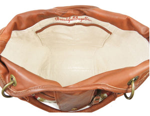 Caramel Leather and Mandala Tapestry Bucket Bag interior