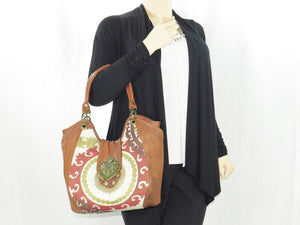 Caramel Leather and Mandala Tapestry Bucket Bag with model