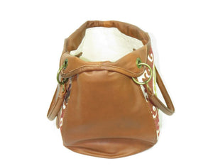Caramel Leather and Mandala Tapestry Bucket Bag open view