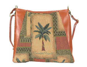 Cinnamon Brown Leather and Palm Tree Tapestry Crossbody Handbag back view