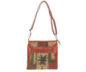 Cinnamon Brown Leather and Palm Tree Tapestry Crossbody Handbag full strap view