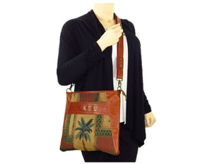 Cinnamon Brown Leather and Palm Tree Tapestry Crossbody Handbag model view 2