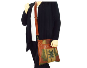 Cinnamon Brown Leather and Palm Tree Tapestry Crossbody Handbag model view