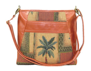 Cinnamon Brown Leather and Palm Tree Tapestry Crossbody Handbag relaxed strap view