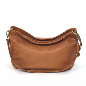 Cognac Brown Leather Slouchy Hobo relaxed handle view