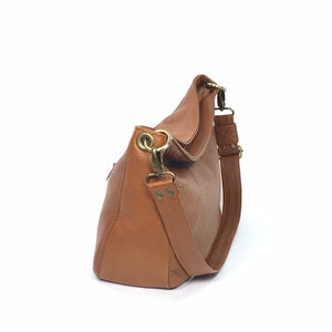 Cognac Brown Leather Slouchy Hobo side view