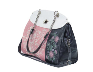 Colorblock Embroidered Leather Flap Bag angle view 2