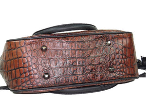Croc Leather Satchel Handbag bottom view