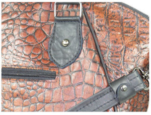 Croc Leather Satchel Handbag close-up view