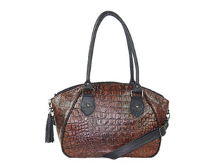 Croc Leather Satchel Handbag front view