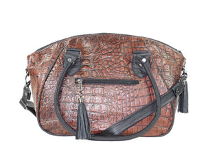 Croc Leather Satchel Handbag handles down view