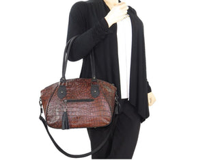 Croc Leather Satchel Handbag model view